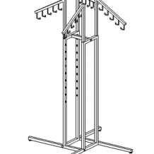 Four-way Rack -Waterfall Arms w/ Hooks