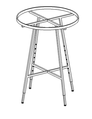 "36"" Folding Round Rack, Rect Rail"