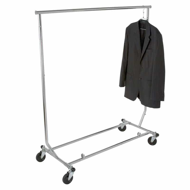Collapsible Rolling Garment Rack with Adjustable Bar/Height, Chrome