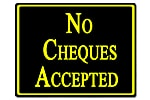 Policy Card - No Cheques Accepted